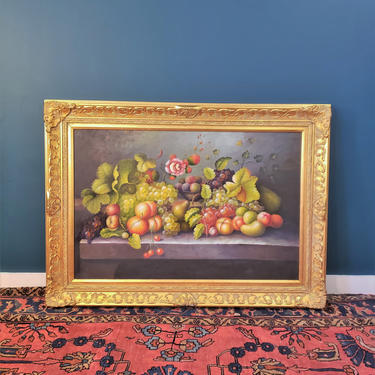 FREE SHIPPING Large Vintage Still Life Oil Painting of Fruit on Canvas in Gold Baroque Frame   Oversized MCM Carved Wooden Frame Picture by SavageCactusCo