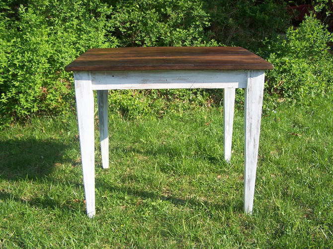 Reclaimed wormy chestnut kitchen table with painted skirt by StrongOaksWoodshop