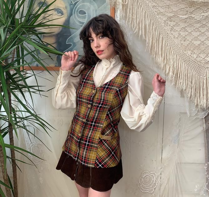 70's PLAID LONG VEST - brass buttons and chains - medium by GlamItToHell
