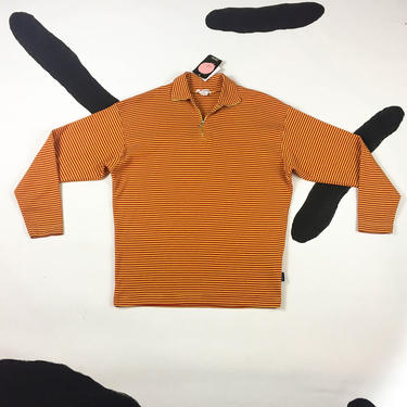 90s Esprit Orange and Red Striped Zip Neck Collared Cotton Shirt / Long Sleeve / Grunge / Big Bird / Deadstock / Large / Club Kid / Cyber / by badatpettingcats