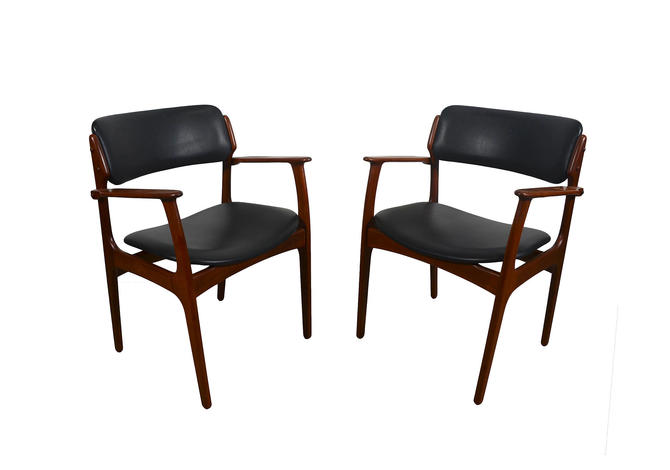 Teak Arm Chair Erik Buck Danish Modern OD Mobler Dining Chair Black
