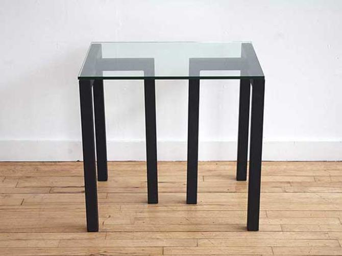 Black Metal and Glass Side Table