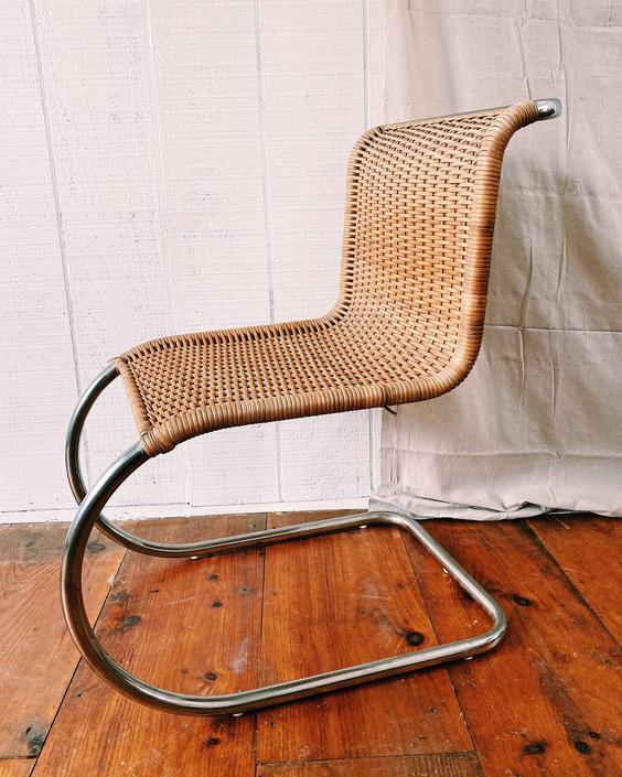 Vintage Mies Van Der Rohe Style Chairs, Rattan Chrome Chairs, Set of 4 dining chairs, 4 armless chairs by VintageandSwoon