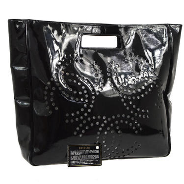 Vintage CHANEL XL Triple CC Logo Monogram Patent Leather Handbag Tote Shoulder Purse Bag - X Large Size! by MoonStoneVintageLA