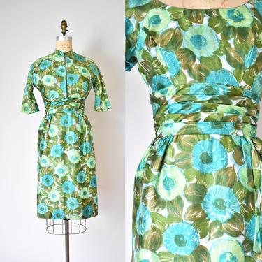 Hellene silk 1960s dress, floral dress, summer dress and jacket, 60s dress by ErstwhileStyle