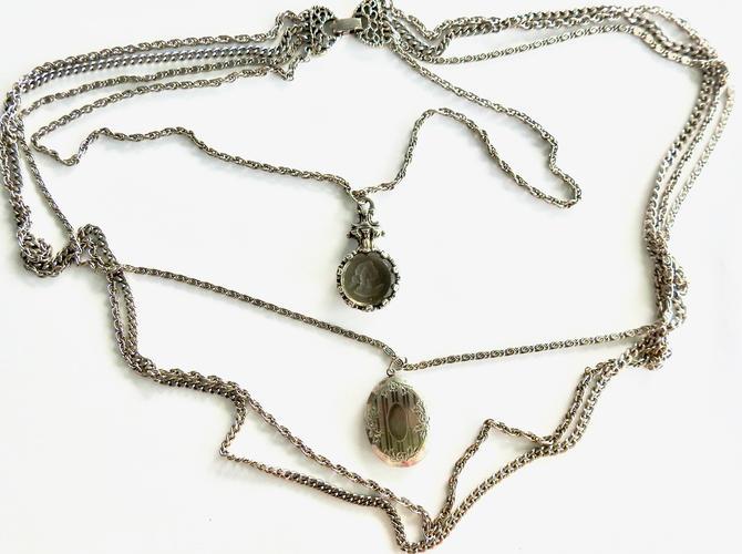Goldette Intaglio Locket Multi Chain Silver Tone Necklace by LegendaryBeast