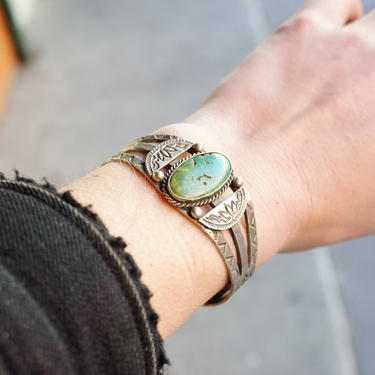 Vintage Native American Coin Silver Turquoise Cuff Bracelet, Handmade Silver Cuff With Intricate Design, Natural Turquoise, Old Pawn Jewelry by shopGoodsVintage