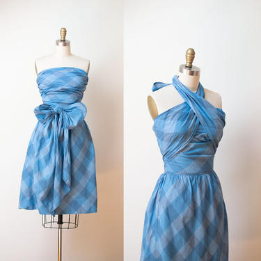 1950s Claire McCardell Dress / 50s Plaid Cotton Sundress Wrap Halter Bandeau by FemaleHysteria