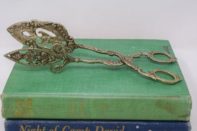 Pair of Silverplated Ornate Serving Tongs by CapitolVintageCharm