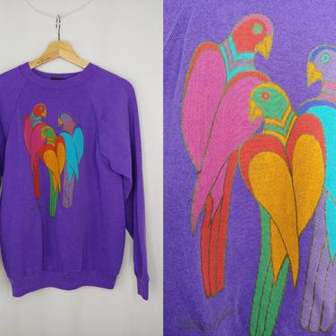 Vintage 90s Laurel Burch San Francisco Purple Large Toucan Parrot Tropical Bird Printed Sweatshirt (Fits like a medium) by JanetandJaneVintage