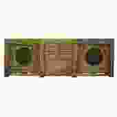 Chinese Distressed Green Brown Oriental Flower Graphic TV Console Cabinet cs4901S