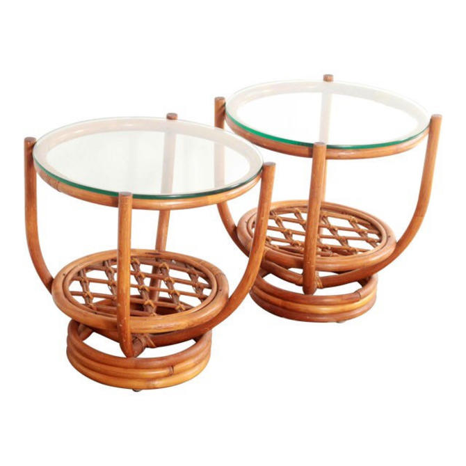 Free Shipping Within US - Pair of Vintage Hollywood Regency Bamboo Rattan Side Tables Stand by BigWhaleConsignment