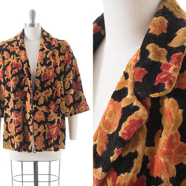 Vintage 1960s 1970s Swing Coat | 60s 70s Dark Floral Velvet Chenille Tapestry Carpet Short Jacket (small) by BirthdayLifeVintage