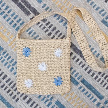 Vintage Early 2000s Y2K Crochet Crossbody Bag - Beige & Blue Floral Daisy Boho Straw Purse by SecondShiftVintage