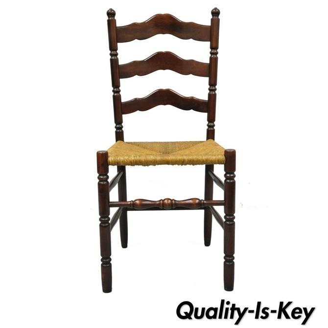 Antique American Primitive Cherry Wood Woven Rush Seat Ladder Back Side Chair