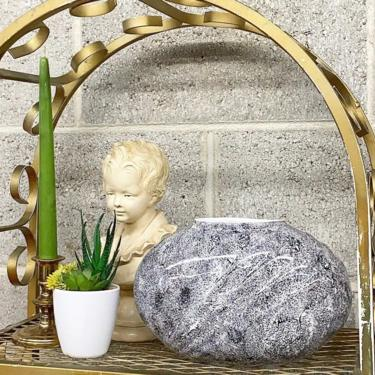 Vintage Vase Retro 1980s Contemporary + Ceramic + White and Black + Oval Shape + Modern + Bookshelf or Table Decor + Plant or Flower Display by RetrospectVintage215