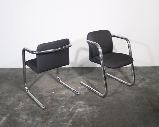 Pair (2) Chrome Cantilever Chairs by IridiumInteriors