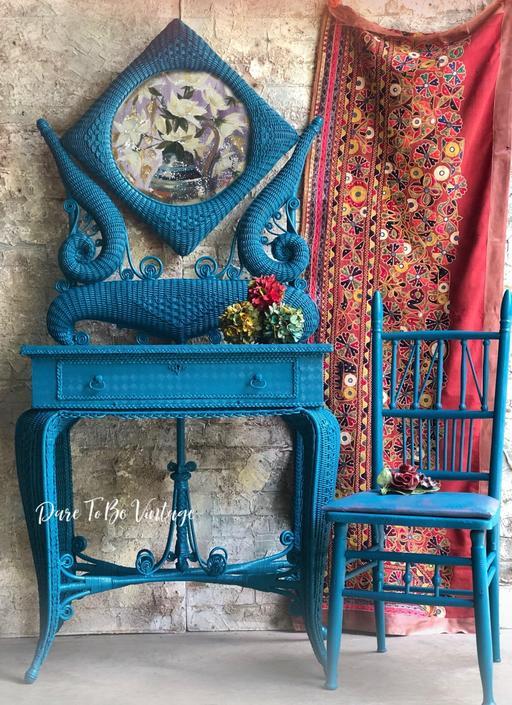 Vintage Wicker Vanity Dressing Table  - Bohemian Style Vanity Dressing Table - Boho Blue - Vanity Makeup Shaving Stand Table by DareToBeVintage