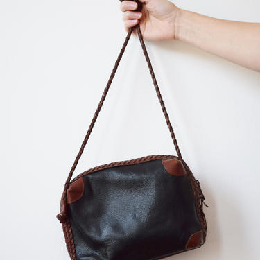 Vintage Two Tone Leather Purse | 1980s/90s Black and Brown Real Leather Crossbody Bag with Braided Strap by wemcgee