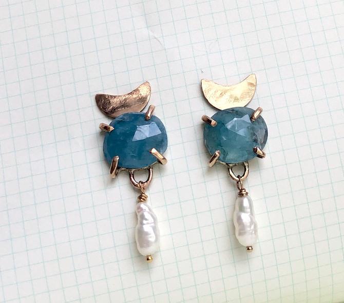 Aquamarine and Pearl Moon Earrings in 14k Gold-Fill Handmade Totem Stud Dangles by RachelPfefferDesigns