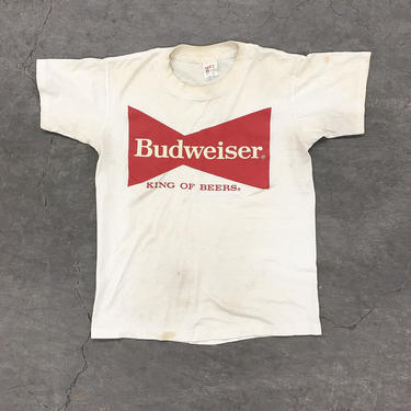 Vintage Budweiser Tee Retro 1970s King of Beers + Bud + Logo + Size Small + Beer + Graphic Tee + Cotton + Made in USA + Unisex Apparel by RetrospectVintage215