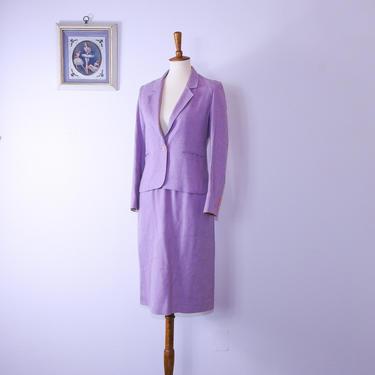 Vintage Pink Lilac Linen Skirt Suit / Vintage Nordstrom Pink Purple Blazer and Skirt by blackwellhabitat