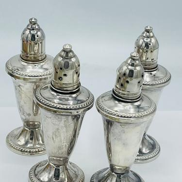 Vintage Rare Set of (6) Sterling Silver Salt and Pepper Shakers-Marked Sterling- Ribbed Design Individual Smaller Size by JoAnntiques