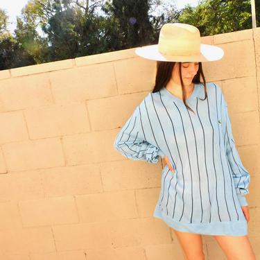 French Lacoste Sweater // vintage knit boho hippie grunge 80s 90s dress blouse blue shirt oversize grandpa striped preppy // O/S by FenixVintage