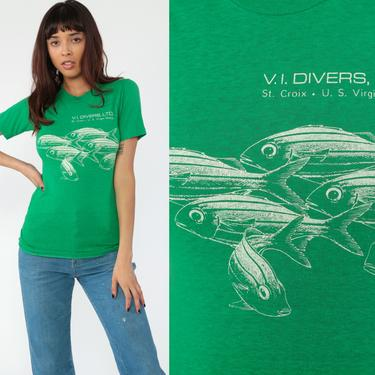 Vintage Scuba Shirt Virgin Island Divers Shirt 80s Scuba Diving Shirt Fish T Shirt Retro TShirt Burnout T Shirt Diver Extra Small xs by ShopExile