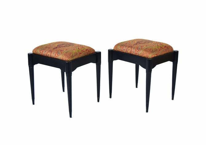 Pair Vintage Mid-Century Paisley Shawl Upholstered Black Stools Hidden Storage by PrairielandArt