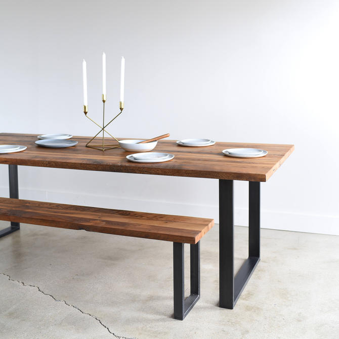 Industrial Modern Kitchen Table / U-Shaped Metal Legs / Made From Reclaimed Wood by wwmake