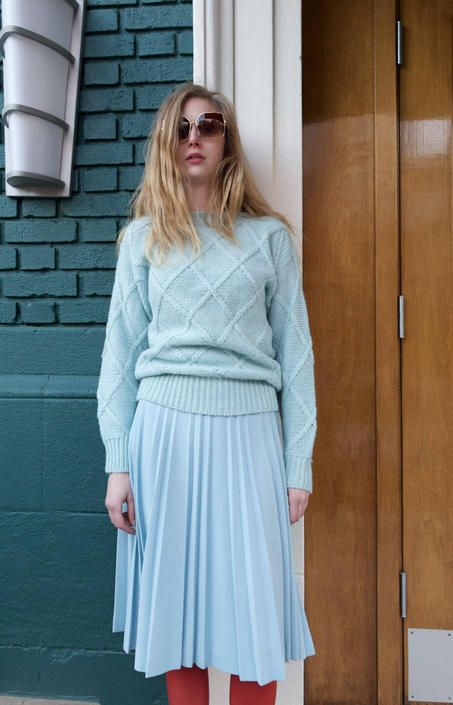 Vintage 1970s Powder Blue Pleated Midi Skirt NOS S by SHOPTREASURY