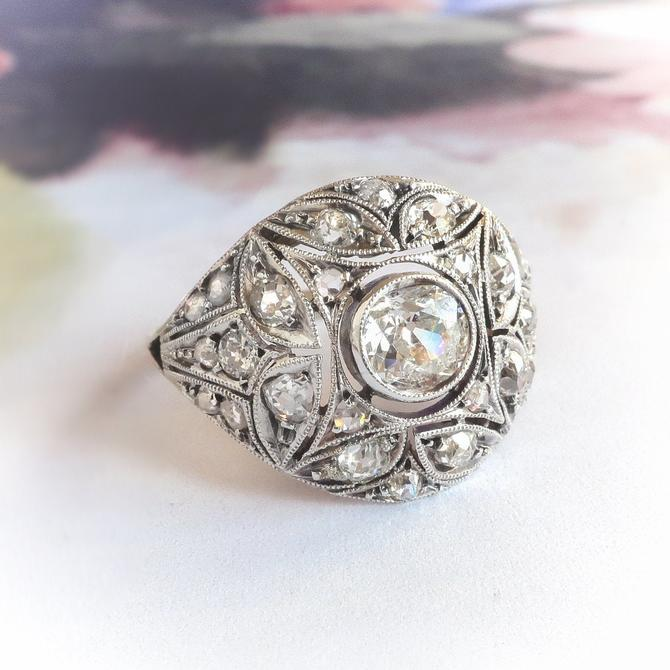 Art Deco Ring 1.47ct t.w. Old European Cut Rose Cut Diamond Two Tone Cocktail Engagement Anniversary  Ring 18k Gold by YourJewelryFinder