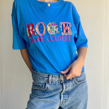 90's VERSACE Jeans Couture Blue ROCK Tee by VintageRosemond