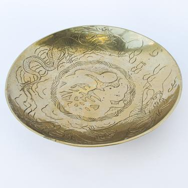 Solid Distressed Vintage  Brass Metal Bowl / Dish - Made in China by PortlandRevibe