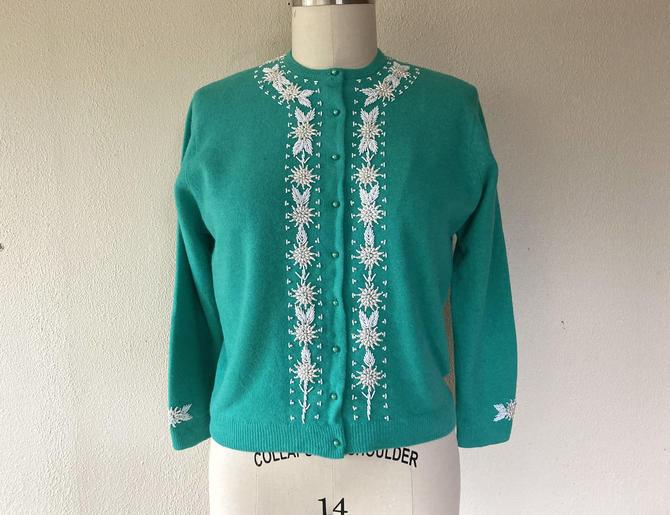 1960's Seafoam green beaded wool cardigan by VelvetGoldmineShop