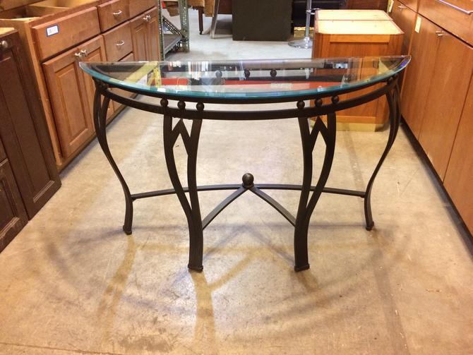 Semi Circular Metal Glass Top Console Table 28 x 48 x 17