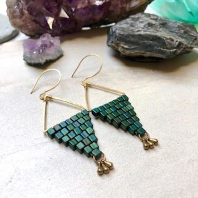 Diamond Shaped Earrings with Hand beaded Detail