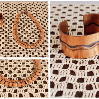 1950s Cuff & Necklace Set // Copper 2pc Jewelry Set // vintage Copper 50s accessories by dethrosevintage