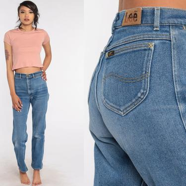 High Waisted Jeans 70s Denim Pants Straight Leg Jeans LEE Bohemian Faded Blue Jeans 80s Vintage Hipster Boho Hippie Small 26 x 31 4 by ShopExile