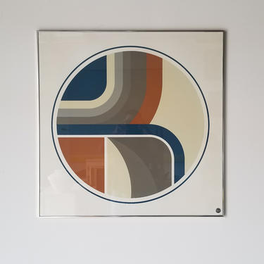 1970s Kent S. Topham for Greg Copeland Studios Op Art Print, Framed. by MIAMIVINTAGEDECOR
