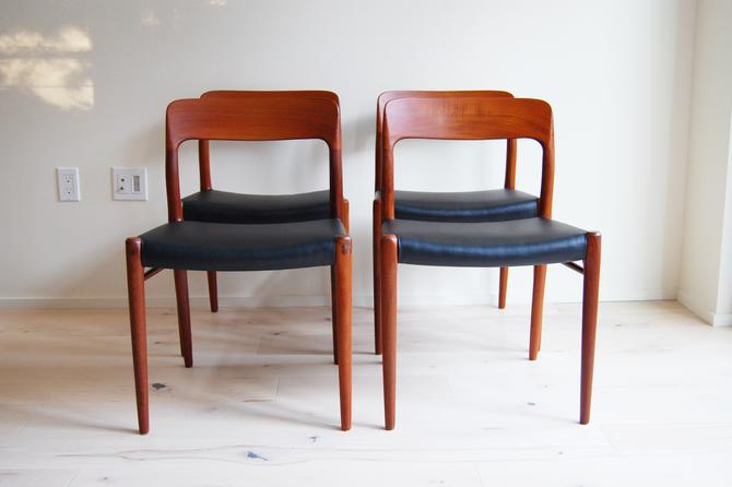 Danish Modern J L Moller Teak Dining Chairs Model 75 with Black Leatherette Upholstery Niels Otto Moller - Set of 4 by MidCentury55