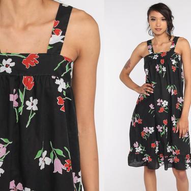 70s Sun Dress Black Floral Sundress Tent Dress Midi Summer Dress 1970s Vintage High Waist Spaghetti Straps Small Medium by ShopExile