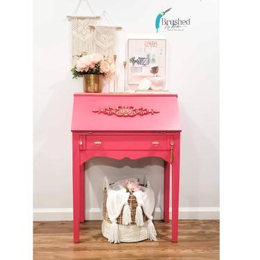 Pink Secretary desk ,side table by BrushedbymaddieArt