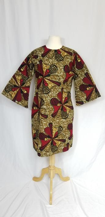 LABA Ankara Shift dress with 3/4 bell sleeves (Brown and red) by GLAMMfashions