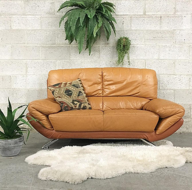 LOCAL PICKUP ONLY ------------------ Vintage Leather Loveseat by RetrospectVintage215
