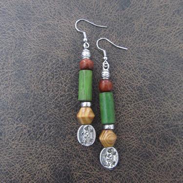 Wooden earrings, natural earrings, bold statement earrings, geometric earrings, rustic bohemian earrings, unique chic earrings by Afrocasian