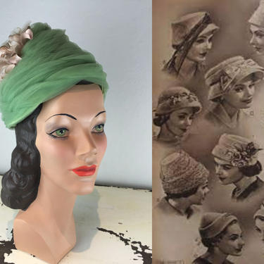 She Had That Soft Feminine Charm - Vintage 1950s Pistachio Green Rayon Netted Beehive Dome Hat w/Florals by RoadsLessTravelled2