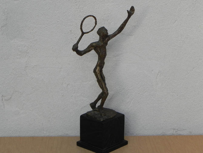 Brass Brutalist Abstract Tennis Player Sculpture Decorative