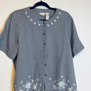 1) Black and white embroidered gingham blouse by GRACEandCATS